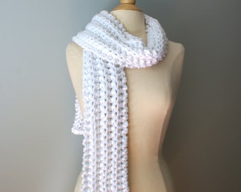 White Chunky Knit Scarf,  Knit White Scarf, Bulky White Scarf, Long Knit Scarf, White Winter Scarf