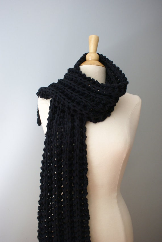 Eco-Friendly Knit Black Cotton Scarf - Ready to Ship