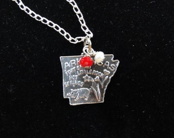 Arkansas Razorbacks Necklace- Vintage Sterling Silver Arkansas Map Charm- Pendant with Red & White Beads- University of Arkansas Necklace