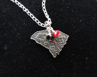 South Carolina Gamecocks Necklace- Vintage Sterling Silver South Carolina Map Charm- Pendant with Red & Black Beads- South Carolina Necklace