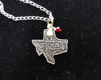 Texas A&M GALVESTON Aggies Sterling Silver Map Charm Necklace, Red and White Beaded Pendant