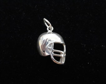 Football Helmet Charm, Football Charm, Football Pendant, Sterling Silver Charm Pendant, Vintage Charm, Game Day Jewelry