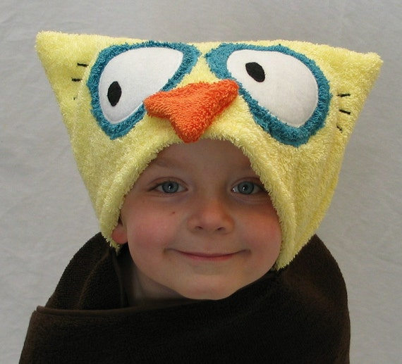 OWL hooded bath towel - Brown- Great Baby Shower or Birthday Gift for baby toddler and child