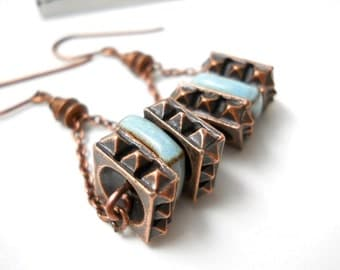 SALE Ceramic Copper Beaded Earrings, Elaine Ray Ceramic Blue Square Beads, Rustic Jewelry, Dangle, Natural