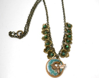 Brass Floral and Ceramic Necklace, Elaine Ray Ceramic, Green Glass Beads, Rustic Necklace, Spring Fashion