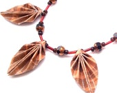 Origami Necklace - Autumn Brown Origami Leaf Necklace with Glass Beads - foldedjewels