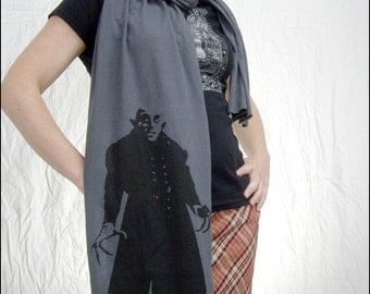 Gray Nosferatu Sheer Cotton Scarf