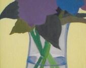 Original oil on wood 4 x 6 inches - Hydrangeas