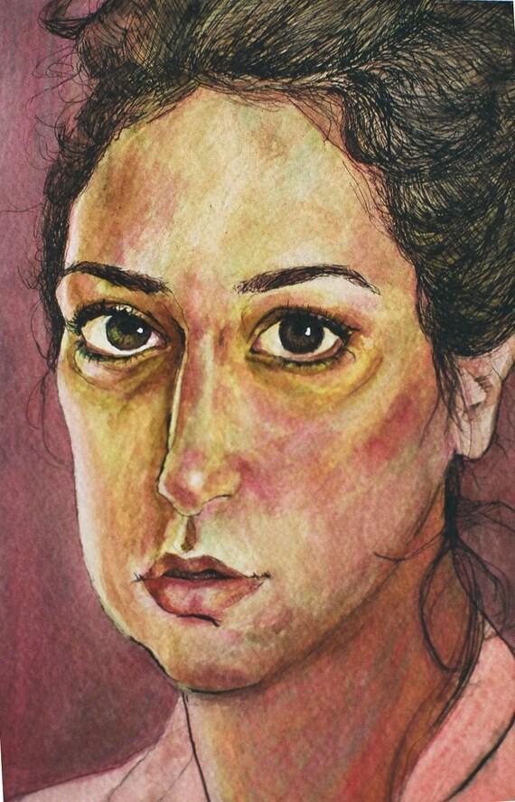 Self Portrait, Laura, Original ink on paper