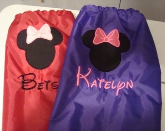 Mickey or Minnie Cinch Backpack you pick design and color  of one  backpacks