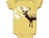Organic mustard yellow DEER baby bodysuit, short sleeve, infant boys and girls, woodland reindeer deisgn