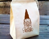 Eco Lunch Sack with Garden GNOME design, Recycled Cotton Canvas Lunch Bag with Handle