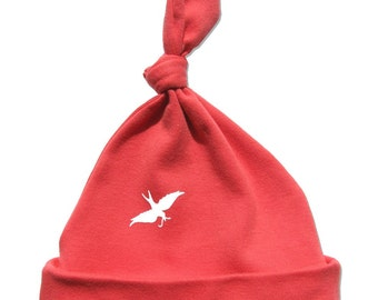 Papaya Baby Bird Hat, white bird, fits infant to toddlers, organic cotton, pretty coral