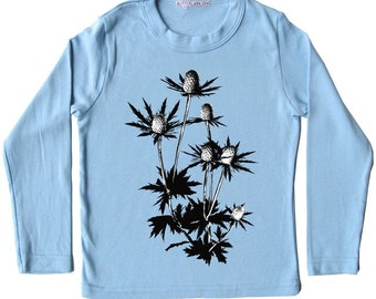 Botanical Blue Thistle Flower Shirt, NOW ON SALE, Sea Holly plant, infant and toddler sizes