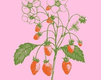 Light Pink Summer Strawberry Bodysuit, sweet yummy berries, short sleeve, perfect baby shower gift,