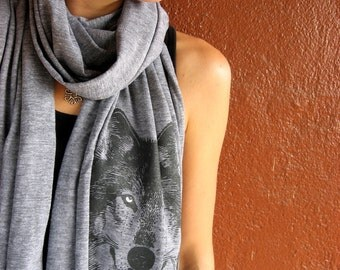 WOLF Scarves, tri-blend heather blue, brown or grey, long scarf screenprinted, perfect gift for him or her, spooky eyes