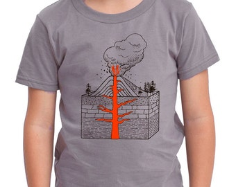 Exploding VOLCANO shirt ON SALE, short sleeve gray, toddler youth sizes, rad science, volcanic red lava
