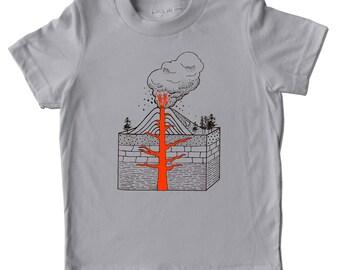 Volcano shirt, kids tshirt, Exploding VOLCANO shirt, childrens science tshirts, kids clothes, birthday gift, geology tee shirt