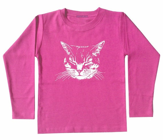 On sale only this weekend. Kitty Cat Shirt, hot pink fuschia, long sleeve shirt, perfect gift for baby girl, infant to toddler youth sizes