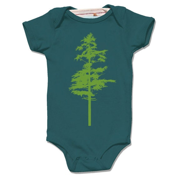 Organic Deep sea HEMLOCK Bodysuit for infant / baby, single green tree screenprint, short sleeve, woodland nature design, boy or girl