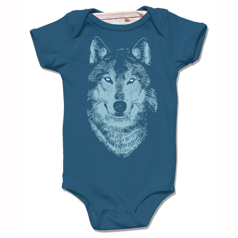 Organic Galaxy Blue WOLF onesie infant baby bodysuit short