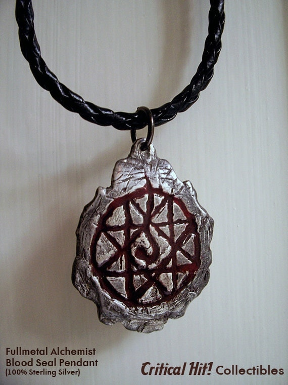 blood seal pendant anime jewelry sterling by criticalhitshop