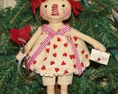 Be Mine Raggedy Ann Ornie Ornament Pattern, Valentine Pattern, Raggedy doll ornament, small doll pattern