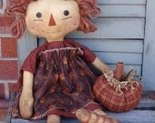 Extreme Primitive Grungy Harvest Ann Raggedy with Pumpkin pattern, halloween pattern, fall pattern