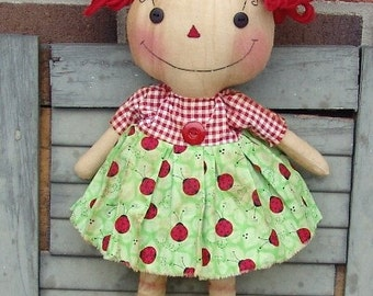 Raggedy Ann pattern, primitive pattern, primitive e pattern, rag doll pattern, cloth doll pattern