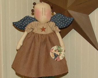 Americana Liberty Angel Doll Tree Topper pattern, Americana pattern, country primitive, HFTH153