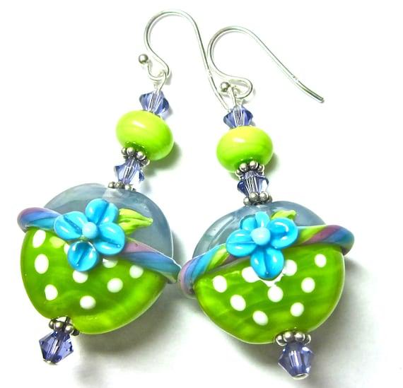 Turquoise Green Earrings Flower Earrings Lampwork Earrings Glass Earrings Floral Earrings Artisan Earrings Beaded Earrings Handmade Earrings