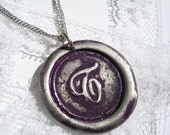 Plum -Original Wax Seal necklace, painted, letter of your choice