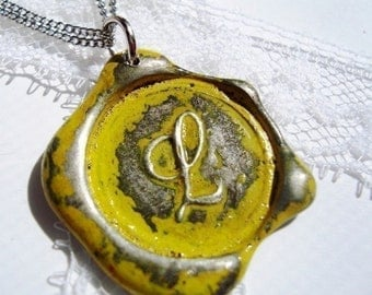 Yellow - Original Wax Seal necklace, painted, monogrammed with the letter of your choice