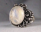 Rainbow Moonstone Sterling Silver Ring  Order Your Size