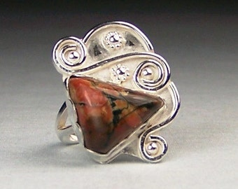 Tiffany Stone Sterling Silver Ring Size 6.5  Free US Shipping