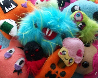 Plush Grab Bag - Stuffed Surprise Mixed Toys Monster Stuffed Animal Softie Cute Kawaii Zombie (Three Surprise Assorted Toys)
