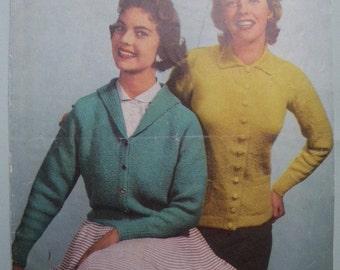 Vintage 1950s Knitting Pattern Womens Cardigans or Jackets 50s original pattern
