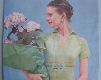 Vintage Knitting Pattern 1950 Women's Sweater / Jumper short sleeve blouse style - 50s original colour pattern Lavenda Hand Knit No. 591 UK
