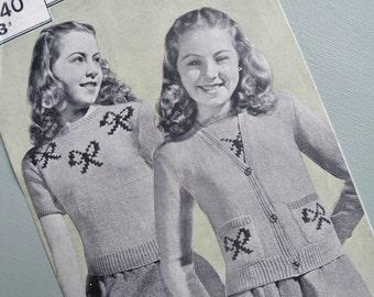Vintage 1940s Knitting Pattern Girls Sweater Jumper Cardigan Girls Twin Set with Ribbon Bow Motifs 40s original pattern Bestway No. 2040 UK