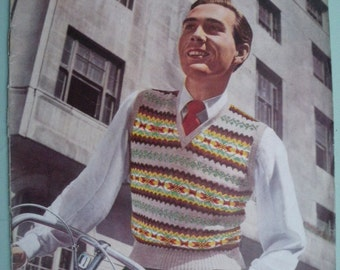 Stitchcraft Vintage 1950s Magazine Sewing and Knitting - January 1950 - 50s original patterns - men's Fair Isle pullover - women's sweaters