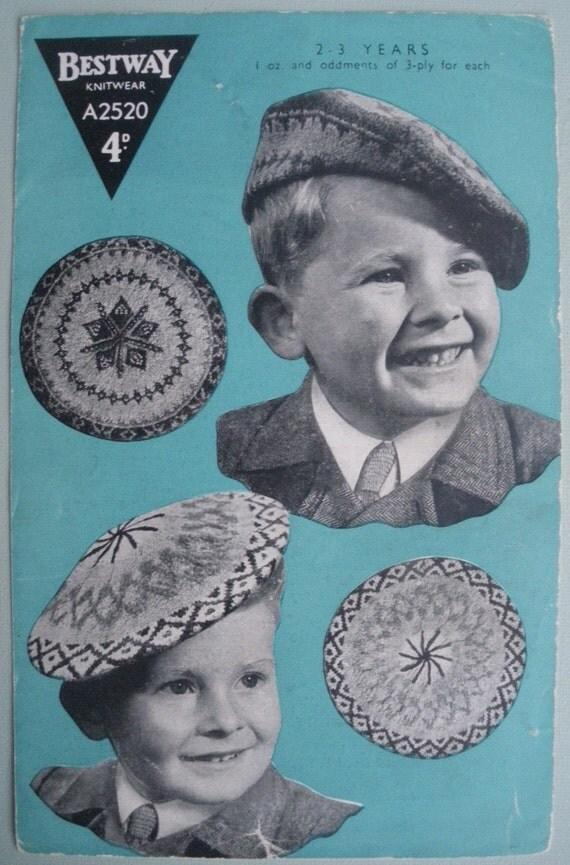Vintage 1940s Knitting Pattern Children's Hats Berets Fair