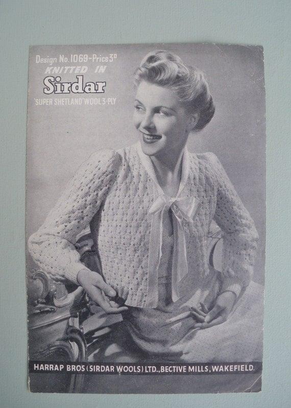Vintage Knitting Pattern 1930s 1940s Women's Cardigan Bed Jacket Bedjacket 30s 40s original pattern - Sirdar Design No. 1069 - UK WWII WW2
