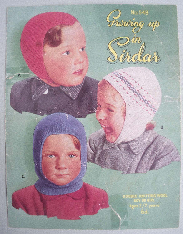 Vintage Balaclava Knitting Pattern : Vintage 1940s 1950s Knitting Pattern Childrens Hat Balaclava
