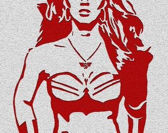 Wonder Woman -  Red on Silver Digitally Altered Screenprint Postcard