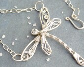 Silver Dragonfly Necklace. Wire Wrapped Necklace. Sterling Silver Necklace. Dragonfly Jewelry. Asymmetrical Necklace