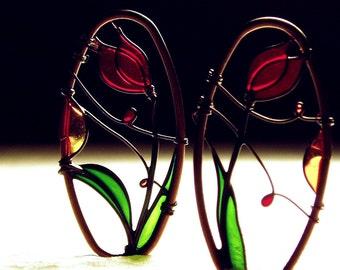 Red Tulip Earrings. Dangle Earrings. Copper Earrings. Red Earrings. Flower Earrings. Elegant Earrings. Wire Wrapped Earrings. Art Nouveau.