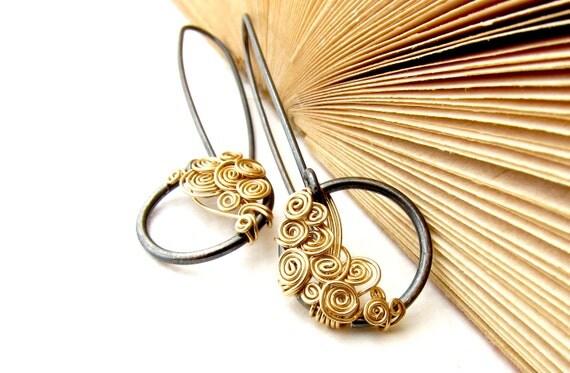 Oxidized Silver Earrings. 12K Gold Filled Earrings. Dark Earrings. Circle Earrings. Dangle Earrings. Elegant Earrings. Festive Jewelry.