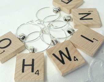 Scrabble Wine Glass Charms Wood You choose 6 Letters - Personalized - Extra charge for J & K - Authentic Natural  - Holiday Gift Bling Retro