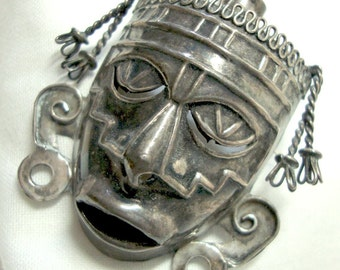 Mexican Brooch Face Mask - Vintage Sterling Silver Fierce Tribal Jewelry .925 Pin Mexico Boho Ethnic from the 1950s MCM Modern - Pendant