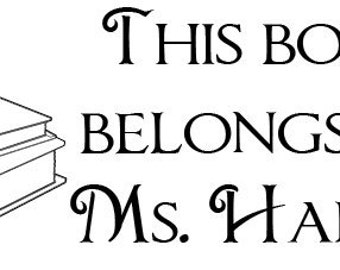 Teacher Gift Apple Books... This book belongs to ... Custom  Rubber Stamp